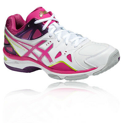 ASICS GEL-NETBURNER 18 Womens White Pink Netball Court Sports Shoes Trainers
