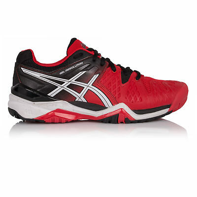 Asics Gel-Resolution 6 Mens Red Black Tennis Court Sports Shoes Trainers Pumps