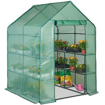 VonHaus Walk In Greenhouse with 8 Shelves, Roll Up Zip Panel Door, Re-enforced