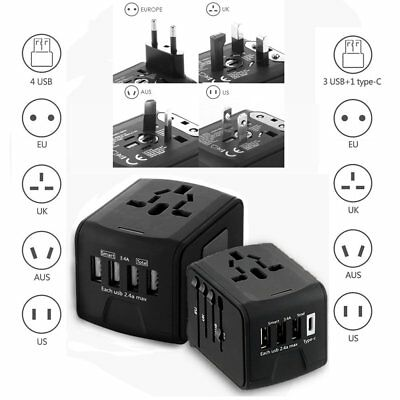 Universal International Travel Adapter 4 USB Ports 2.4A Power Charger AC Socket