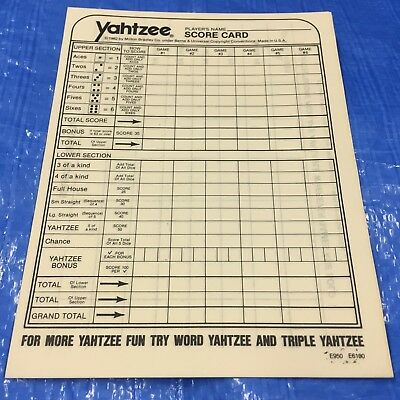 (10) Yahtzee Score Card Sheets Pad Replacements Dice Board Game