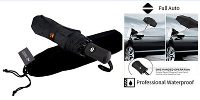 Umbrella Retractable Repel Easy Touch Windproof Fully Automatic Button (Black)