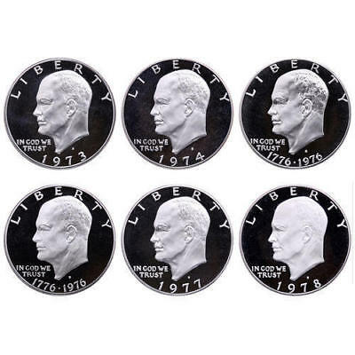 1973-1978 S Eisenhower Dollar DCam Proof Run CN-Clad Ike Lot US Mint 6 Coin Set