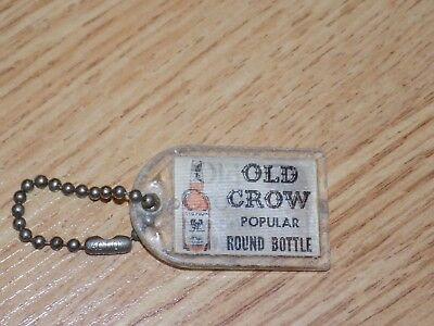Vintage Unique Double Image Old Crow Kentucky Bourbon Whiskies Small Keychain