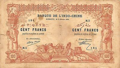 French Somaliland / Djibouti  100 Francs  2.1.1920 P 5  M.5 circulated Banknote