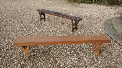 2 x Vintage School Wooden Benches Pair folding