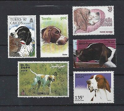 Dog Art Study Portrait Postage Stamp Collection 5 ENGLISH POINTER 6 x MNH