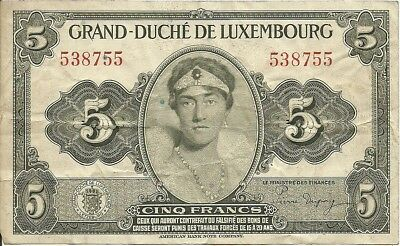 Luxembourg 5 Francs  ND(1944)   P-43a