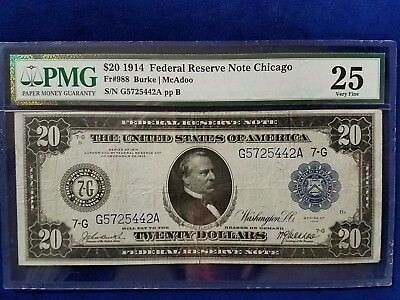 1914 $20 Federal Reserve Note Chicago - Pmg Very Fine 25  - G5725442A