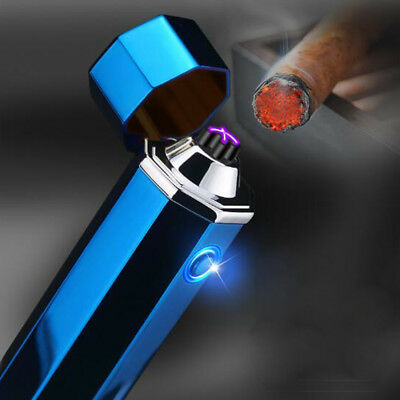 Windproof Electric Lighter Dual Arc Plasma USB Rechargeable Cigar Pipe igniter