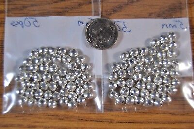 100 Sterling Silver 5mm Bench Made Beads Raised Seam Lot of 100
