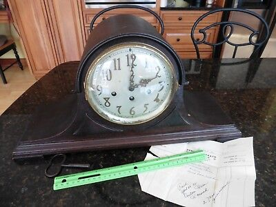 Antique Seth Thomas Tambour Westminster Chime Mantle Clock Mahogany Vintage Key