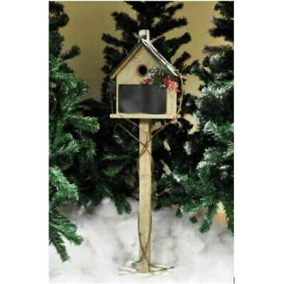 New Outdoor Traditional Wooden Garden Outdoor Festive Bird Feeder House on Pole