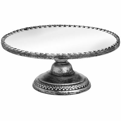 Hill Interiors Antique Mirrored Heart Cake Stand in Brushed Silver (HI2687)