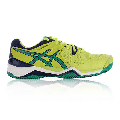 Asics Mens Gel-Resolution 6 Clay Court Tennis Shoes Green Yellow Sports Trainers