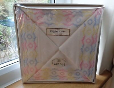 Pair Ivanhoe Irish Pillow Cases 19 x 29 inch Boxed Embroidered Pink and Blue