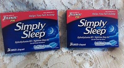 Simply Sleep Aid Nighttime Aid 25 mg From the Makers of Tylenol PM (Lot of 2)