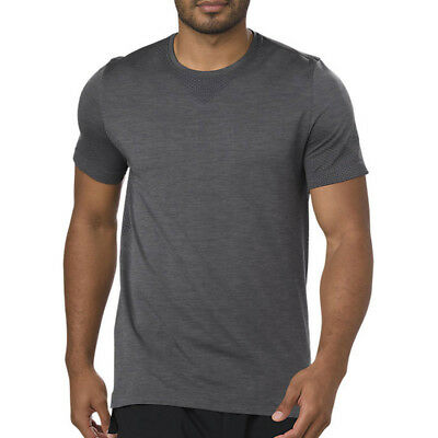 Asics Mens Seamless Short-Sleeve Running T Shirt Tee Top Grey Sports Outdoors