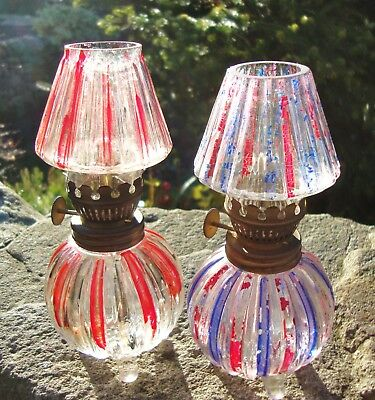 Charming Vintage Pixie Lamp Glass Oil Burner x 2 - Striped Pink / Blue - Shabby