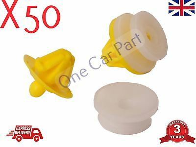 50x RENAULT TRAFIC DOOR CARD PANEL TRIM CLIP INTERIOR MK2 TRAFFIC Yellow PLASTIC