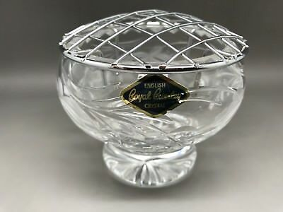 Small Royal Brierley Crystal Rose Bowl - With Metal Flower Grid