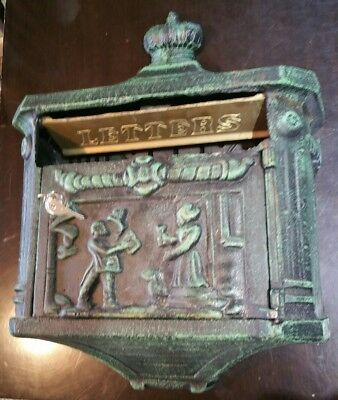 Antique/Vintage Large Cast Iron Wall Mounted Letter MailBox w/ 2 Keys