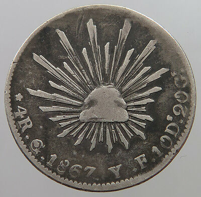 MEXICO 4 REALES 1867 YF   #t17 327