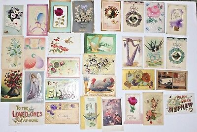 Mixed Lot of 35 Antique Embossed Seasonal Postcards Early 1900's Best Wishes