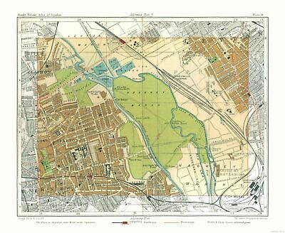 Old Great Britain Map - Hackney Marshes London - Philips  1904 - 28.01 x 23