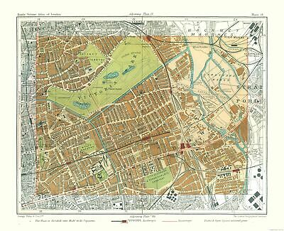 Old Great Britain Map - Victoria Park London - Philips  1904 - 28.29 x 23