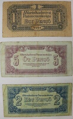Lot of 3 Hungarian 1, 2, 5 Pengo Banknotes 1944  Russian Occupation Of Hungary