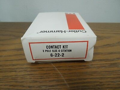 Cutler-Hammer 6-22-2 Contact Kit 3 Pole Size 0 Citation Series New Surplus