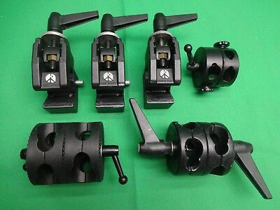 3 Manfrotto 035 Super Clamps without Studs ~~ plus 3 Stand / Boom Grip Hands