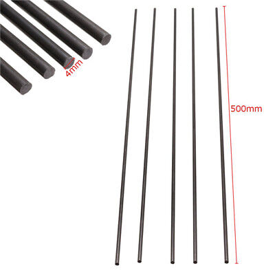 5pcs Black 4mm Diameter x 500mm Carbon Fiber Rods For Sand Table RC Airplane