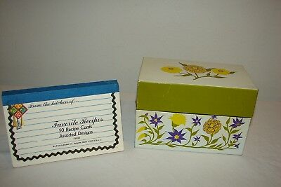 "Vintage 3"" x 5"" Metal Recipe File Box Syndicate Mfg. Plus Index Cards Zinnias"