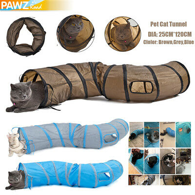 Pet Kitten Cat Play Tunnel S Shape Collapsible Crinkle Rabbit Funny Toy 3 Colors