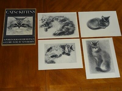 "CATS & KITTENS CLARE TURLAY NEWBERRY PORTFOLIO of DRAWINGS Only 4  13.75""x10.25"""