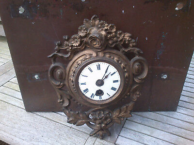Superb  Antique French 19thc gilt  small wall clock 28CM