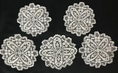Five Edwardian Hand Made Darning on Knotted Net Off-white Doilies Cross Pattern