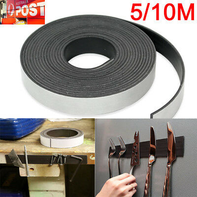 AU 5M/10M Strong Magnetic Magnet Sheets Self Adhesive Roll Tape Rubber Strip OZ