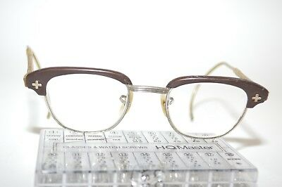 Vintage Bausch + Lomb Safety Eyeglass Horn Rim Brow Line Club-master 22[]46