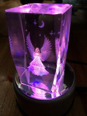 Crystal Illuminated Angel 4 Colored LED Lights Changing