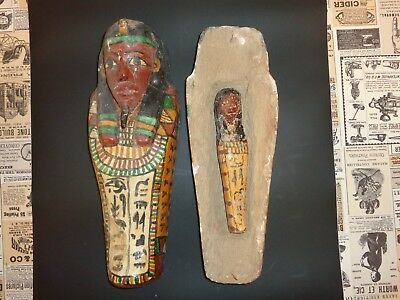 "Antique EGYPTIAN Wooden 12"" Miniature Sarcophagus Coffin Painted w/ Inner Figure"