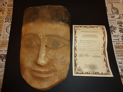 "Ancient EGYPTIAN Wooden Mummy Mask from a Sarcophagus 12"" c 600 BC with COA"