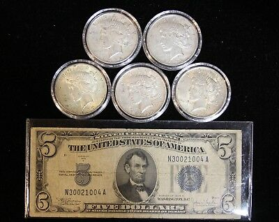 Five 1922 Peace Dollars $ & 1934-C $5 Silver Certificate Coin/Currency Set
