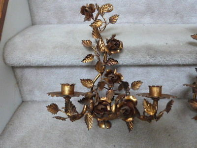 "2 ANTIQUE VINTAGE GOLD Hollywood Regency Metal Candle Wall Sconces Roses 15""T"
