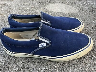 Rare Vtg 70s Vans Off The Wall Made In USA Canvas Deck Shoes Skateboard Mens 14