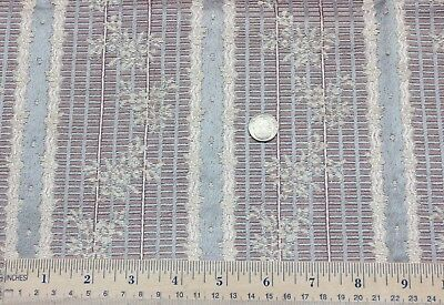 "Antique French Silk/Cotton Woven Floral Silk Stripe Fabric c1890~L-16"" X W-25"""