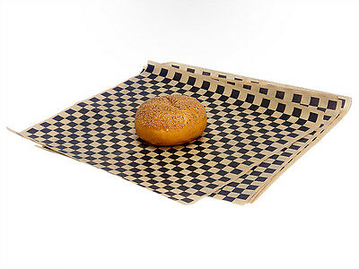 100ct Black Tan Checkered Wrap Food Basket Liners 12x12 Deli Bakery Tissue Sheet