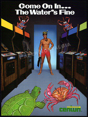 Centuri SWIMMER__Vintage 1982 Trade print AD / 2-sided Arcade Game Promo / Flyer